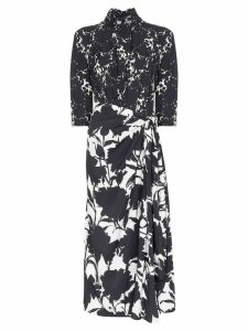 Prada Floral print tie neck dress - Black