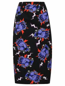 Prada Hand print fitted midi skirt - Black