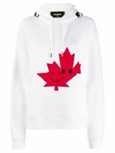 Dsquared2 Canadian leaf print hoodie - White