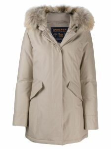 Woolrich faux fur hooded coat - Neutrals