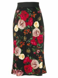Dolce & Gabbana high waisted floral skirt - Black