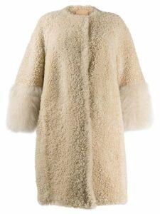 Prada shearling oversized coat - Brown