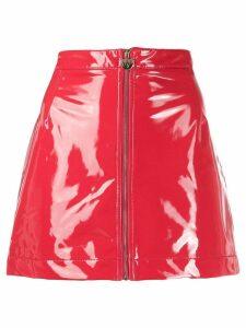 Chiara Ferragni vinyl zip skirt - Red