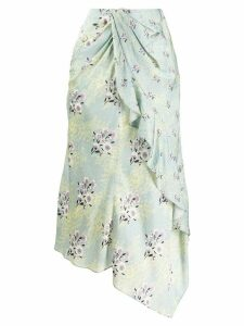Self-Portrait floral print draped skirt - Green