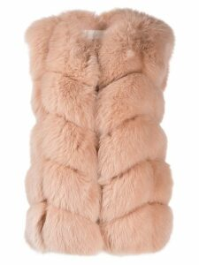 Yves Salomon short fur gilet - Pink