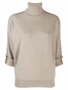 Brunello Cucinelli d-ring sleeve jumper - Neutrals