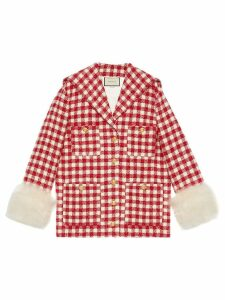 Gucci Tweed jacket with feathers - Red