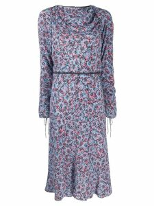 Marni boat neck printed dress - Blue