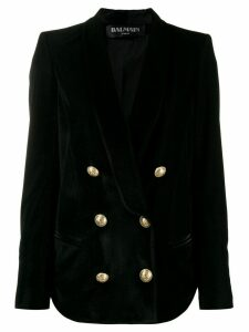 Balmain velvet button-embellished blazer - Black