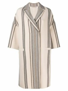 Brunello Cucinelli striped midi coat - Neutrals