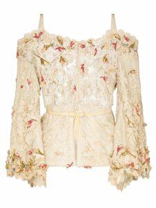 One Vintage flower appliqué lace blouse - Neutrals