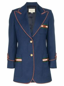 Gucci contrast-piping blazer - Blue