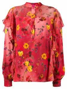 Blumarine ruffled floral print blouse - Red