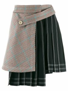 Off-White houndstooth panel pinstriped skirt - Black