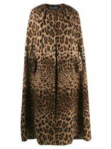 Dolce & Gabbana leopard pattern cape coat - Brown