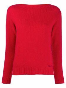 Prada boat neck jumper - Red