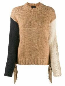 Alanui Fringed wool-knit sweater - Brown