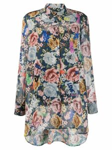 Twin-Set long shirt with floral and graffiti print - Blue