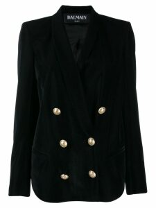 Balmain velvet double breasted blazer - Black