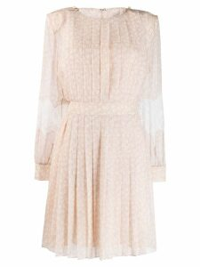 Fendi lace flared pleated dress - Neutrals