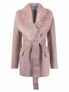 Prada furry collar belted coat - Pink
