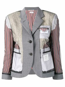 Thom Browne Exposed Classic Uniform Sport Coat - Grey
