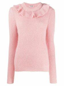 Miu Miu ruffled detailed knitted sweater - PINK