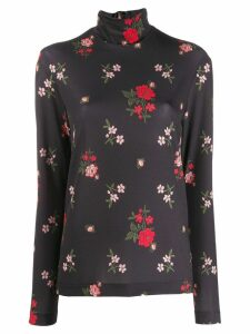 Simone Rocha floral print polo top - Black