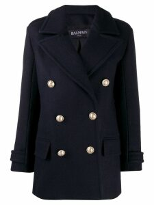 Balmain double breasted coat - Blue