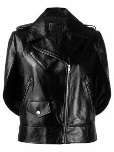 Prada hybrid cape-style biker jacket - Black