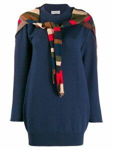 Sonia Rykiel striped tie front jumper - Blue