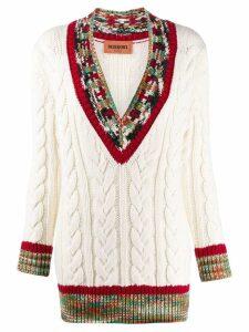 Missoni patterned V-neck cable knit jumper - Neutrals