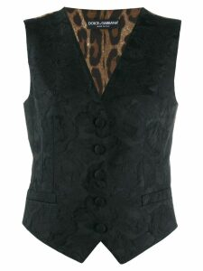Dolce & Gabbana floral embroidered waistcoat - Black