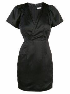 Derek Lam 10 Crosby Cap Sleeve Fitted Satin V-Neck Dress - Black