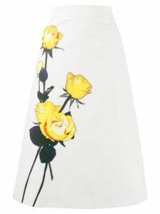 Prada floral A-line midi skirt - White