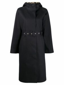 Mackintosh INVERURIE Black x Leopard Oversized Single Breasted Trench