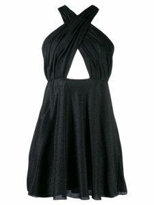 Saint Laurent draped crisscross short dress - Black