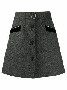 Miu Miu belted a-line skirt - Grey