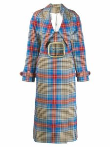 Charles Jeffrey Loverboy tartan Shepherd trench coat - Blue