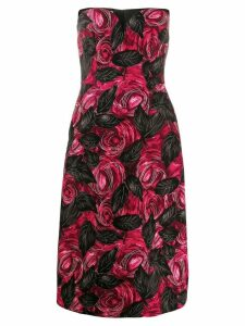 Prada rose print midi dress - Red