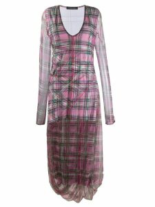 Y/Project long-sleeve plaid dress - Pink