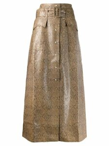 Nanushka snakeskin effect skirt - Brown