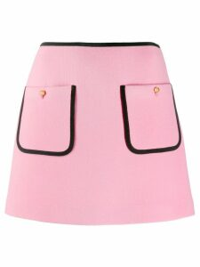 Miu Miu contrast piping A-line skirt - Pink