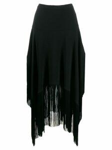 Stella McCartney asymmetric fringed skirt - Black