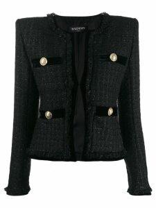 Balmain cropped velvet blazer - Black