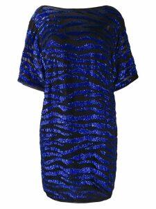 P.A.R.O.S.H. sequin zebra T-shirt dress - Blue