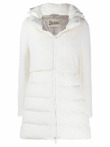 Herno knitted panel padded coat - White