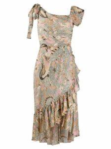 Ulla Johnson asymmetric printed ruffle dress - NEUTRALS