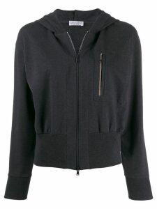 Brunello Cucinelli zip front hooded jacket - Grey