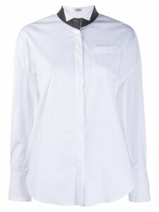 Brunello Cucinelli beaded collar shirt - White